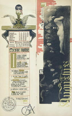 CHT173742 The Black Mass, the month of August for a magic calendar published in 'Art Nouveau' review, 1896 (colour litho); by Orazi, Manuel (fl.1898-1934); colour lithograph; Private Collection; Archives Charmet; Italian, out of copyright