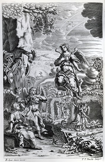 The archangel Uriel informs Gabriel that Satan is in the Garden of Eden, illustration from 'Paradise Lost' by John Milton, engraved by P.P Bouche, sixth edition, 1695 (engraving) by Lens, Bernard I (1631-1708) (after); Private Collection; (add. info.: John Milton (1608-74) English poet; image shows Satan in the form of a cormorant perched on the Tree of Knowledge); British, out of copyright